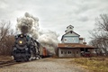 Picture smoke, steam, truck, train, railway, railroad, Pere Marquette 1225, Carland Elevator
