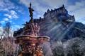Picture hill, Ross Fountain, Princes Street Gardens, trees, castle, Edinburgh castle, Edinburgh Castle, Scotland, Edinburgh, Edinburgh, ...