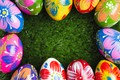 Picture grass, spring, colorful, Easter, spring, Easter, eggs, decoration, green grass, Happy, frame, the painted eggs