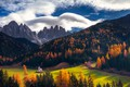 Picture forest, autumn, the sky, clouds, mountains, Alps