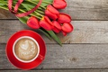 Picture love, romantic, valentine's day, coffee, tulips, tulips, coffee, red, cup