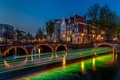 Picture night, bridge, lights, river, excerpt, Amsterdam, lights, Netherlands, Amsterdam, Night, Netherlands, Bridges, Rivers
