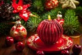 Picture holiday, red, bumps, tree, toys, bokeh, candle, New year, balls, Christmas, branches, fire