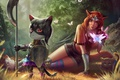Picture cat, forest, axe, shield, butterfly, Princess, art, ears, defender