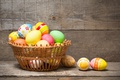 Picture basket, colorful, wood, basket, Easter, Easter, happy, the painted eggs, holiday, spring, eggs