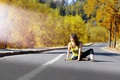 Picture girl, road, autumn, sunlight, Santiago, Chile, South America