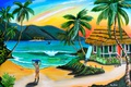 Picture Robin Boney, house, figure, beach, painting, painting, palm trees, picture, girl