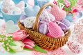 Picture spring, basket, heart, Easter, pastel, tulips, happy, hearts, spring, decoration, Easter, tulips, delicate, flowers, eggs, ...