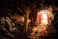 Picture light, trees, stones, tale, the tunnel, pass, path, art, black forest, Iidanmrak