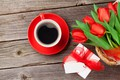 Picture flowers, cup, red, gift, Cup, Valentine's Day, bouquet, coffee, tulips, romantic, coffee, love, gift, tulips, ...
