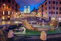 Picture lights, night, Italy, Rome, The Spanish steps, the fountain of the old boat