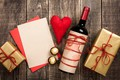 Picture love, wood, gift, romantic, wine, love, hearts, hearts, wine, Valentine's Day, heart, gift, bottle, red