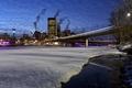 Picture winter, bridge, the city, river, Canada, Calgary, Calgary