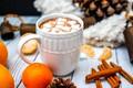 Picture coffee, Mandarin, cinnamon