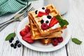 Picture strawberry, breakfast, fresh berries, Breakfast, raspberry, berries, waffles, blueberries