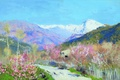 Picture flowers, mountains, oil, trail, Canvas, cvetelina, Isaac LEVITAN, Spring in Italy