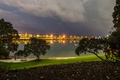 Picture lawn, river, promenade, lights, benches, Auckland, the evening, lights, New Zealand, trees, table, clouds, Mechanics ...