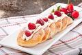 Picture berries, raspberry, sour cream, cheesecakes