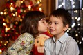 Picture girl, holiday, window, children, tree, bokeh, new year, kiss, boy