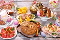 Picture sausages, meat, serving, bread, eggs, Easter, snacks, cuts, table, cake