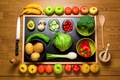 Picture apples, mushrooms, bow, spoon, knife, bananas, pepper, fruit, still life, vegetables, peaches, tomatoes, the view ...