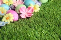 Picture grass, decoration, Easter, Easter, eggs, the painted eggs, flowers, spring, Happy, flowers