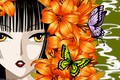 Picture girl, butterfly, flowers, face, Lily, anime, art, xxxHolic
