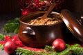 Picture mushrooms, meat, balls, bigos, Christmas, tree, mushrooms, decor, New year, meat, balls