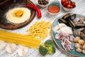 Picture seafood, pasta, pasta, egg