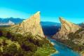 Picture Mountains, River, Castle, Landscape, Art, The Witcher, The Witcher 3, Toussaint