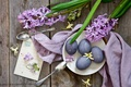 Picture Easter, spoon, postcard, eggs, hyacinths, eggs, flowers