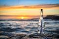 Picture sunset, message, bottle, sea, letter