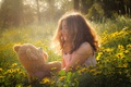 Picture glade, mood, girl, toy, bear, Teddy bear, flowers