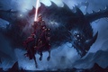 Picture dark, fantasy, armor, eyes, wings, dragon, horse, artwork, warrior, fantasy art, Knight, spear, horn, spear ...