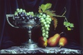 Picture leaves, pear, grapes, Cup