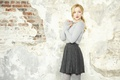 Picture girl, wall, sweetheart, skirt, actress, blonde, singer, sweater, Dove Cameron, Dove Cameron