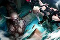Picture demon, girl, sword, fantasy, cleavage, weapon, breast, anime, blue eyes, short hair, battle, fighting, artwork, ...