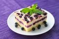 Picture casserole, blueberries, cream, mint, dessert