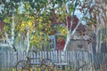 Picture spring, house, shop, Painting, out of the city, the fence, cottage, trees, Svetlana Nesterova, bike, ...