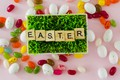 Picture grass, letters, eggs, candy, Easter, Holiday