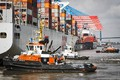 Picture Zaton, Tugs, Container ships, Port, Hamburg, De-berthing, Orient Overseas Container Line, Board, The ship, osvetova, ...