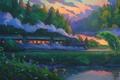 Picture sunset, forest, river, the sky, smoke, trees, the engine, art