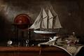 Picture map, history, still life, sailboat, Still life with sailing ship, Mercator, globe, ship