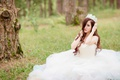 Picture forest, girl, Asian, the bride, white dress