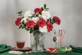 Picture tea, bouquet, cookies, still life, clove