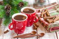 Picture fir-tree branches, coffee, cinnamon