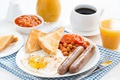 Picture egg, sausage, coffee, Breakfast, juice, scrambled eggs, toast, beans
