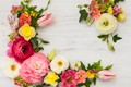 Picture flowers, flowers, frame, floral, composition, pink, wood, beautiful