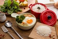 Picture figure, scrambled eggs, broccoli