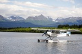 Picture clouds, river, landscape, seaplane, on the water, mountains